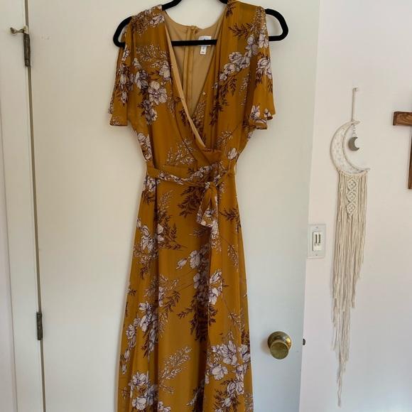 Yellow flowy floral boho dress